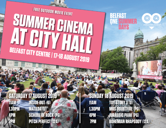 Free Summer Cinema at Belfast City Hall is back for 2019!